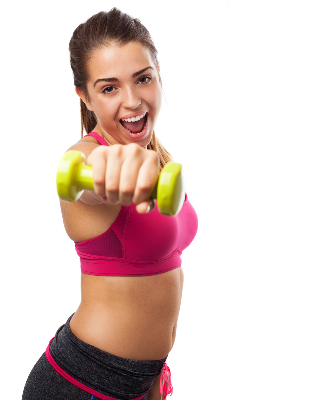 Pretty teenager with weights isolated on a white background