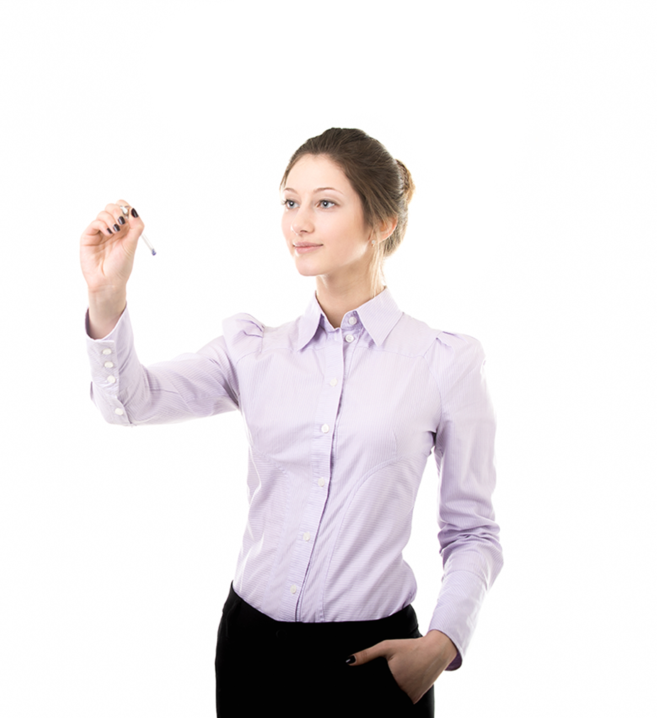 Beautiful girl writing on blank screen with pen, student or office woman in formal wear, copy space